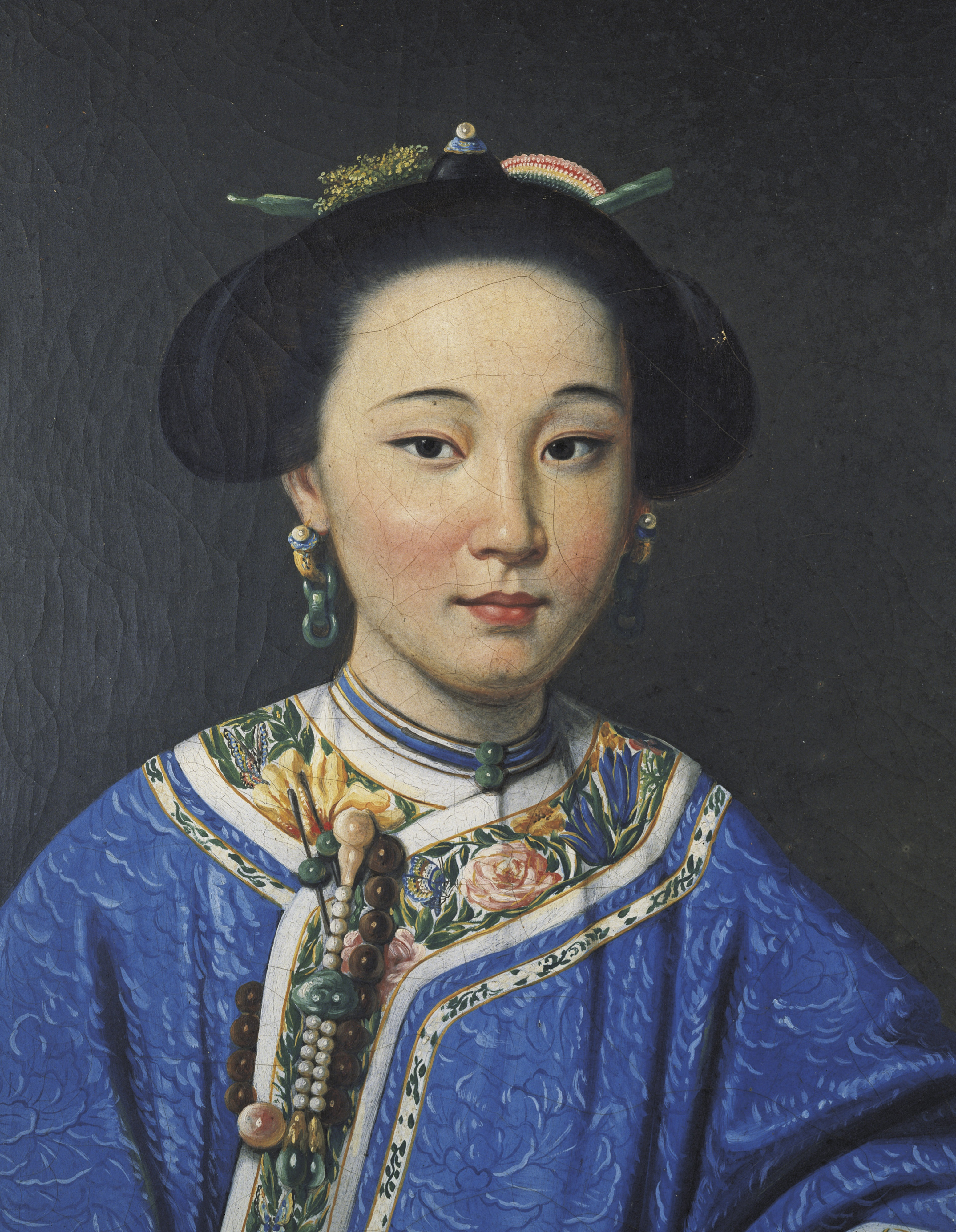 Detail, Unknown Artist, The Fragrant Concubine, Qing Dynasty 18th-19th Century. oil on canvas. Private Collection