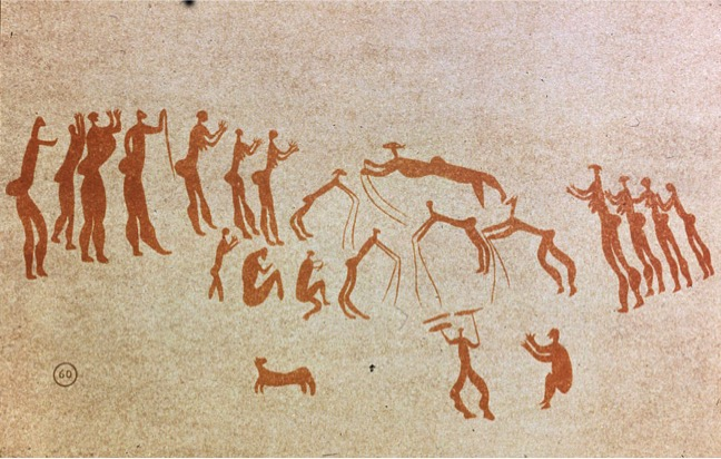 Unidentified San artist, Rock Art of Men Dancing, prehistoric period. Paint on rock. San people, South Africa.