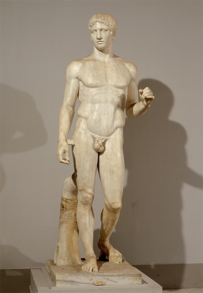 Polykleitos, Doryphorus, Roman copy of a Classical Greek original. Sculpture. Museo nazionale di Napoli, Italy.