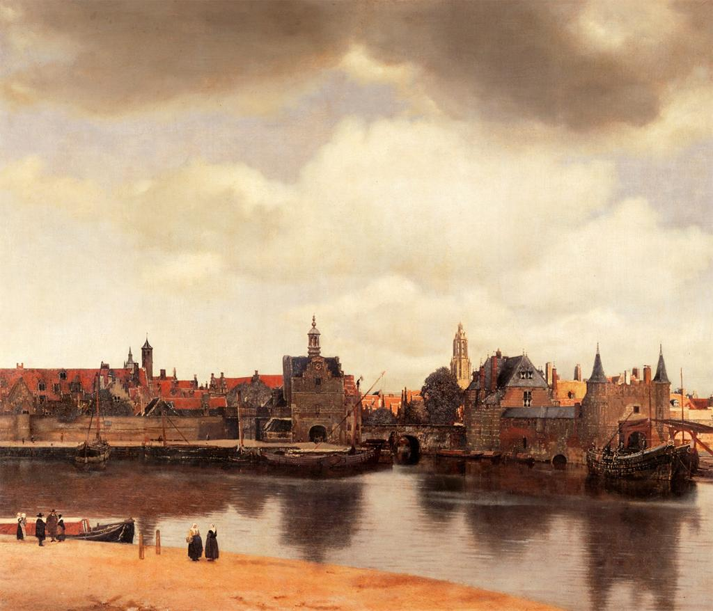 Jan Vermeer, View of Delft, Netherlands, after the Fire, 1660-1661. Painting. Mauritshuis, Netherlands.
