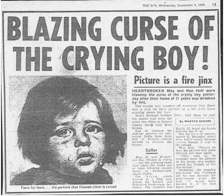 Figure 1, Crying Boy curse exorcised by The Sun.