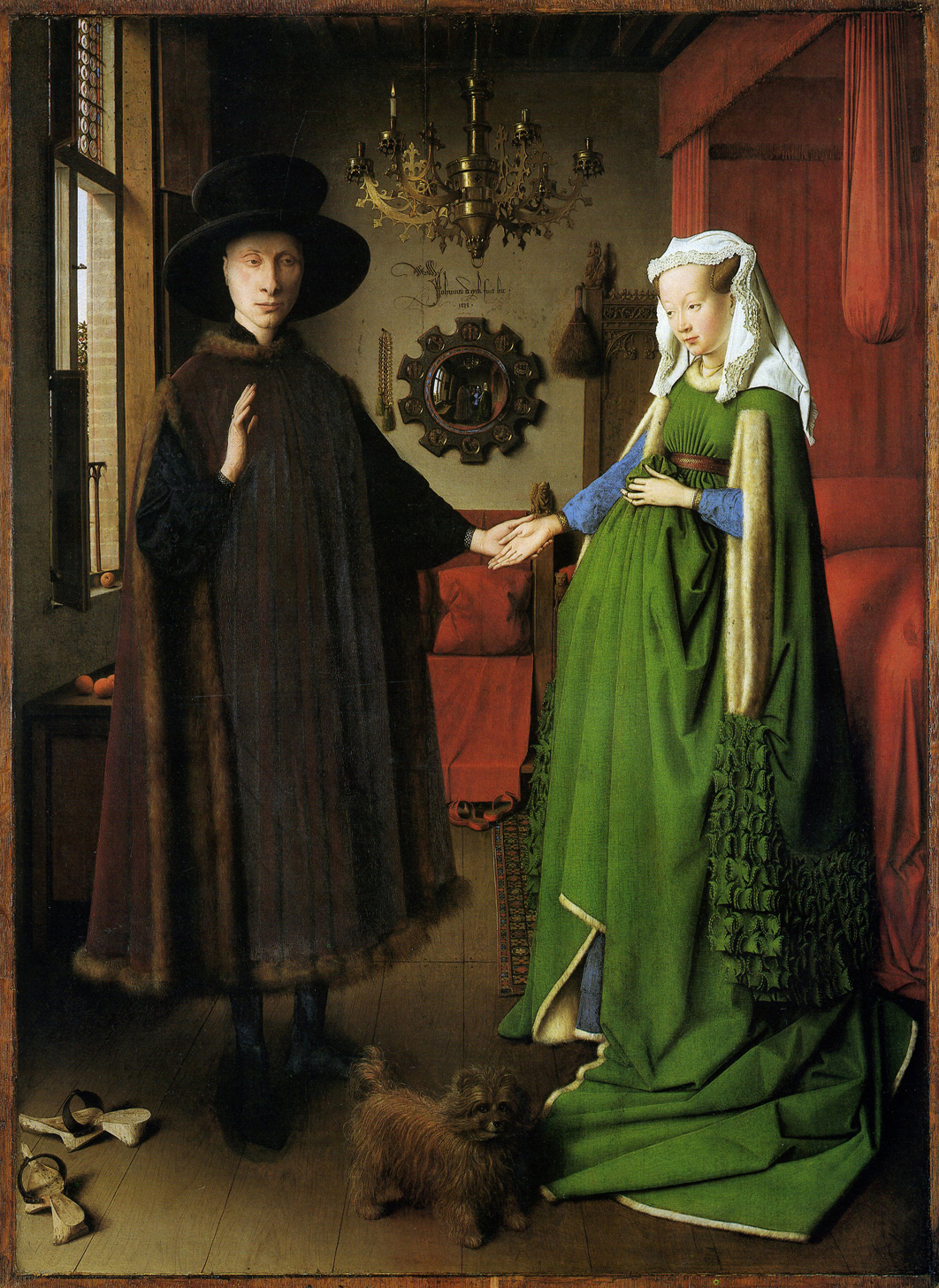 Jan van Eyck, Arnolfini Double Portrait, 1434. Oil painting. National Gallery, London.