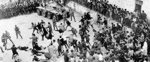 Still from: Battle of Algiers. Directed by Gillo Pontecorvo. Algers, Algeria: Igor Production, 1966.